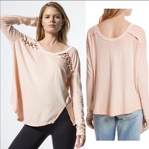 Free People First Love Lace-Up Tee (Blush)